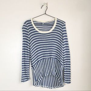 Splendid Striped Long Sleeve Top Blue Size Small